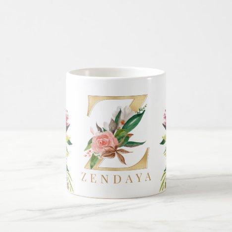 Gold Monogram Watercolor Floral Botanical Coffee Mug