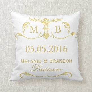 Gold monogram wedding pillow personalized