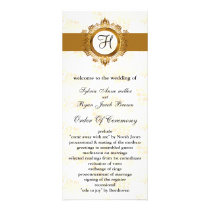 gold monogram Wedding program