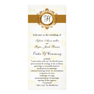 gold monogram Wedding program