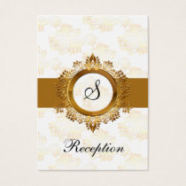 gold monogram wedding Reception Cards