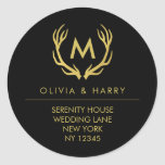 Gold Monogram Wedding Return Address Stickers