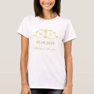 Gold monogram Wedding t-shirt personalized