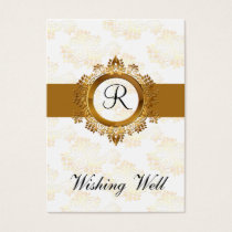 gold monogram wishing well cards