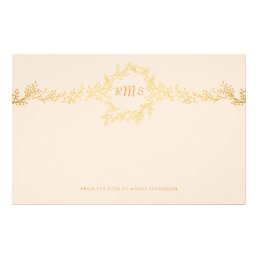 Gold Monogram with Hand-drawn vines | Stationery
