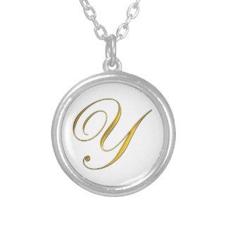 Gold Monogram Y Initial Necklace