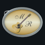 "Gold Monogrammed Acoustic Guitar Oval Belt Buckle<br><div class=""desc"">Guitar Design Buckle. This fun guitar design makes a great gift for any music lover. Customize with any text of your choice. Buckle design by justbyjulie</div>"