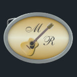 """Gold Monogrammed Acoustic Guitar Oval Belt Buckle<br><div class=""""desc"""">Guitar Design Buckle. This fun guitar design makes a great gift for any music lover. Customize with any text of your choice. Buckle design by justbyjulie</div>"""