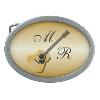 Gold Monogrammed Acoustic Guitar Oval Belt Buckle