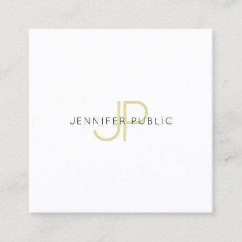 Gold Monogrammed Design Trendy Modern Chic Plain Square Business Card