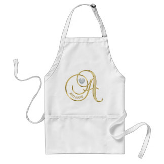 Gold Monogrammed Heart Diamond Letter A - Add name Adult Apron
