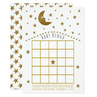 Gold Moon and Stars Baby Shower Bingo Card