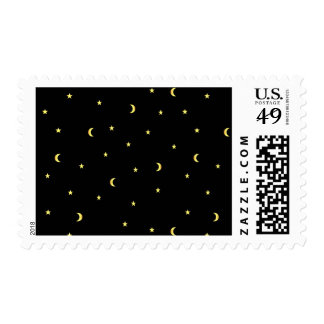 Gold Moon and Stars Postage