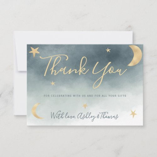 Gold moon stars blue photo thank you baby shower
