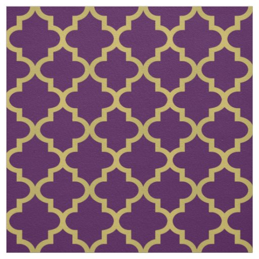 Gold Moroccan Quatrefoil Purple Pattern Fabric Zazzle Com