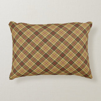 Gold, Moss Green, and Red Plaid Accent Pillow