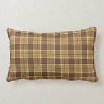 Gold, Moss Green and Red Plaid Lumbar Cushion Throw Pillows