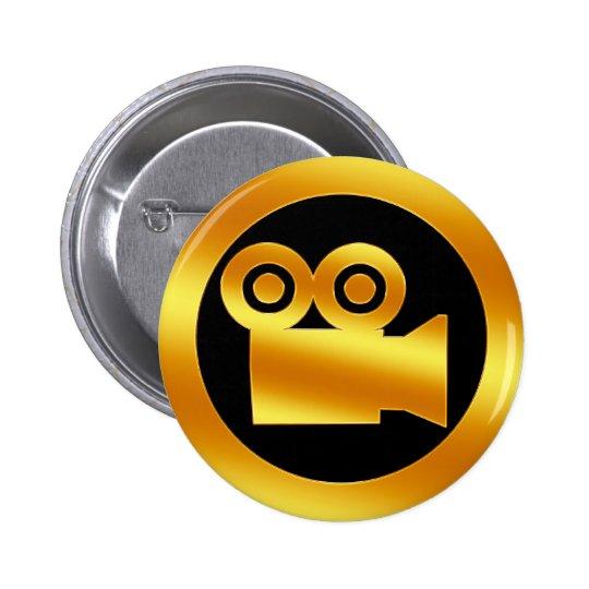 Gold Movie Camera Symbol Button