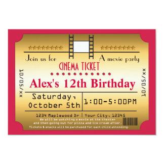 "Gold Movie Ticket Cinema film Strip Invitation 5"" X 7"" Invitation Card"