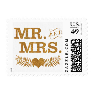 Gold Mr. and Mrs. Heart Stamp