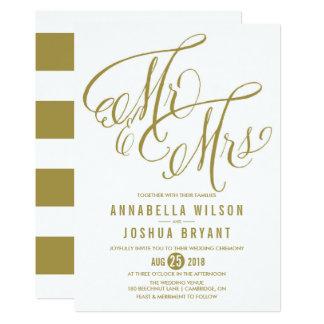 Gold Mr. & Mrs. Elegant Script Wedding Invitation
