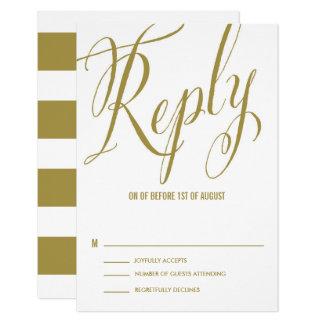 Gold Mr. & Mrs. Elegant Script Wedding RSVP Card