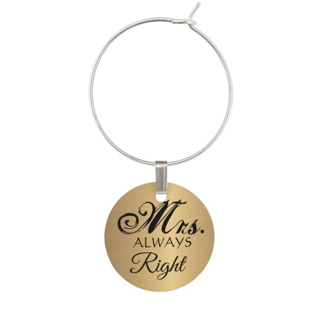 Gold Mrs. Always Right Wine Glass Charms & Tags