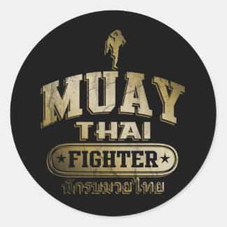 Gold Muay Thai Fighter Round Sticker