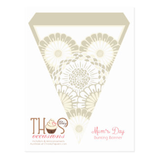 Gold Mum's Day Floral Banner Postcard