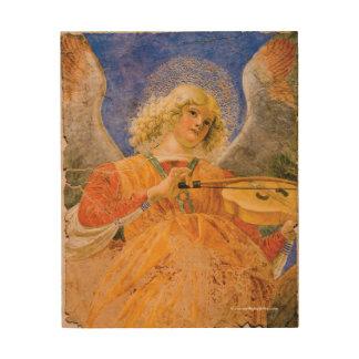 Gold Music Making Angel Wood Print
