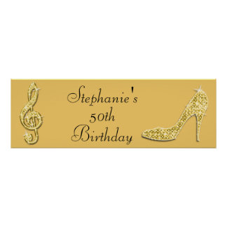 Gold Music Note and Stiletto 50th Birthday Poster