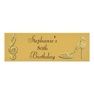 Gold Music Note and Stiletto 80th Birthday Poster
