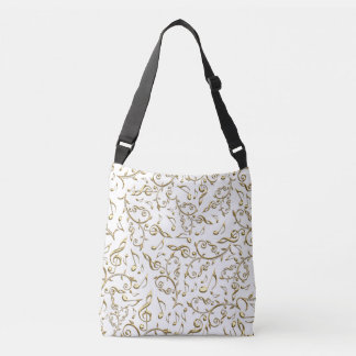 Gold Music Notes and Clefs On Any Color Tote Bag