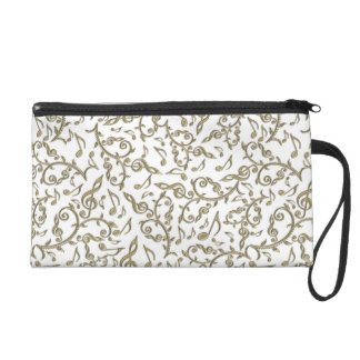 Gold Music Notes and Symbols Wristlet