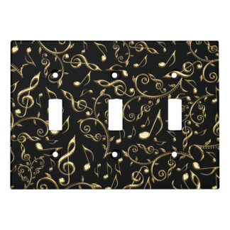 Gold Music Notes Black Triple Light Switch Cover