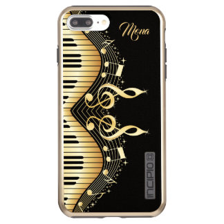Gold Music Notes Design Incipio DualPro Shine iPhone 8 Plus/7 Plus Case