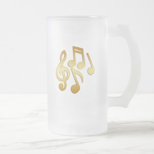 GOLD MUSIC NOTES FROSTED GLASS BEER MUG