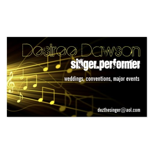 gold music notes music business card