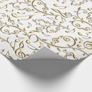 Gold Music Notes On Custom Color Wrapping Paper