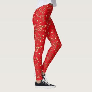 Gold Music Notes On Festive Christmas Red Leggings