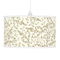 Gold Music Notes Pattern On Any Color Hanging Lamp