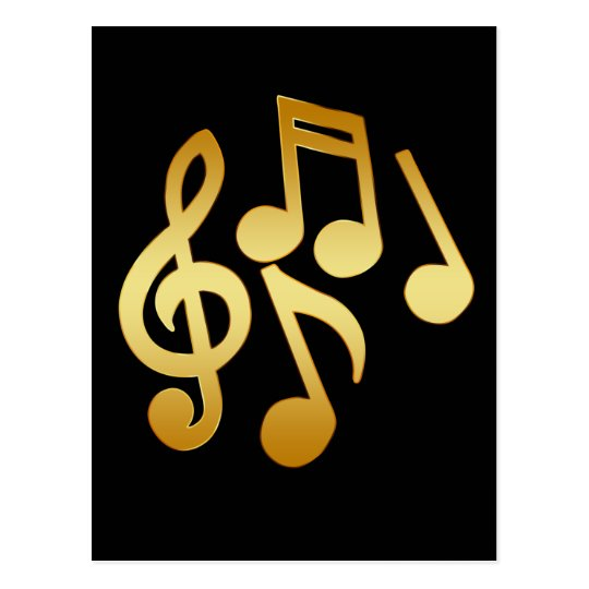 GOLD MUSIC NOTES POSTCARD
