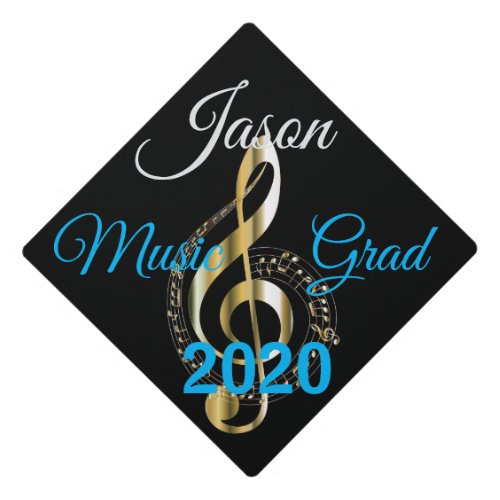 Gold Music Symbol on Black wName and Grad Year on Graduation Cap Topper