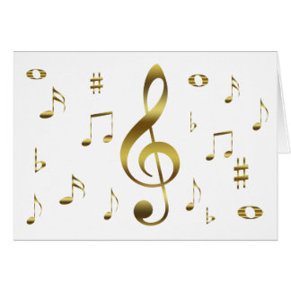 Gold Musical Notes Card