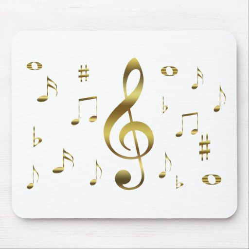 Gold Musical Notes Mousepad