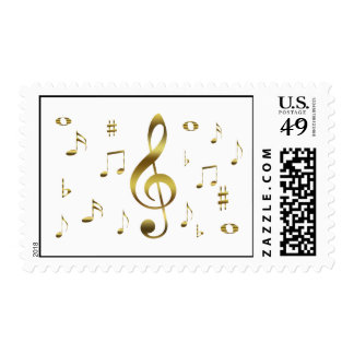Gold Musical Notes Postage Stamp