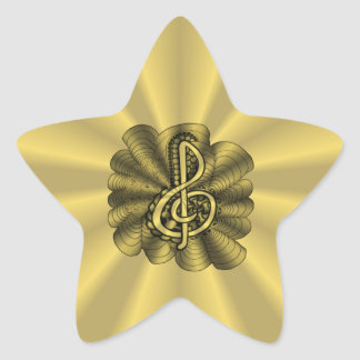 Gold Musical Treble Clef Personalizable Star Sticker