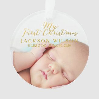 Gold My First Christmas Baby Photo Birth Ornament