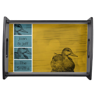 Gold N Blue Duck Art Serving Tray-Black Serving Tray