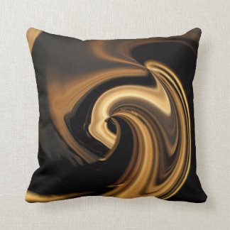 Gold N Brown Abstract Heart Throw Pillow